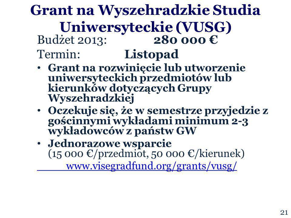 Budżet 2013:280 000 Termin: Listopad Grant na rozwinięcie lub utworzenie uniwersyteckich przedmiotów lub kierunków dotyczących Grupy Wyszehradzkiej Oczekuje się, że w semestrze przyjedzie z gościnnymi wykładami minimum 2-3 wykładowców z państw GW Jednorazowe wsparcie (15 000 /przedmiot, 50 000 /kierunek) www.visegradfund.org/grants/vusg/ Grant na Wyszehradzkie Studia Uniwersyteckie (VUSG) 21