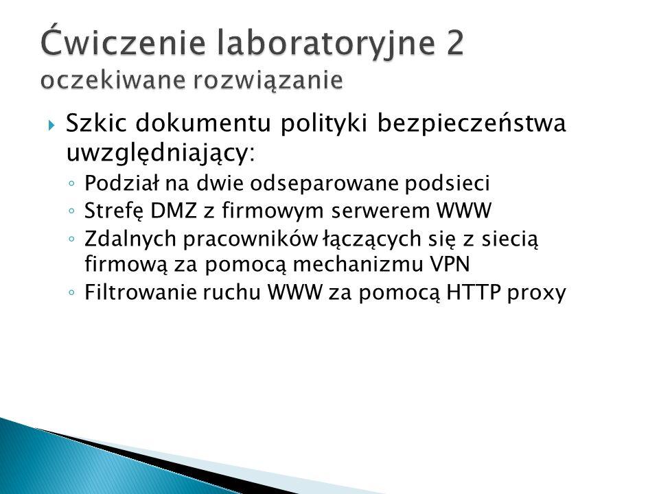 Szkic dokumentu polityki bezpieczeństwa uwzględniający: Podział na dwie odseparowane podsieci Strefę DMZ z firmowym serwerem WWW Zdalnych pracowników