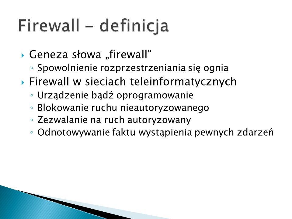 Geneza słowa firewall Spowolnienie rozprzestrzeniania się ognia Firewall w sieciach teleinformatycznych Urządzenie bądź oprogramowanie Blokowanie ruch
