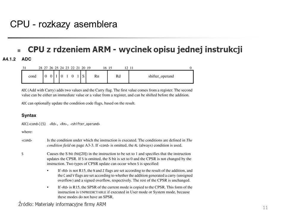 CPU - rozkazy asemblera 11 CPU z rdzeniem ARM - wycinek opisu jednej instrukcji Źródło: Materiały informacyjne firmy ARM