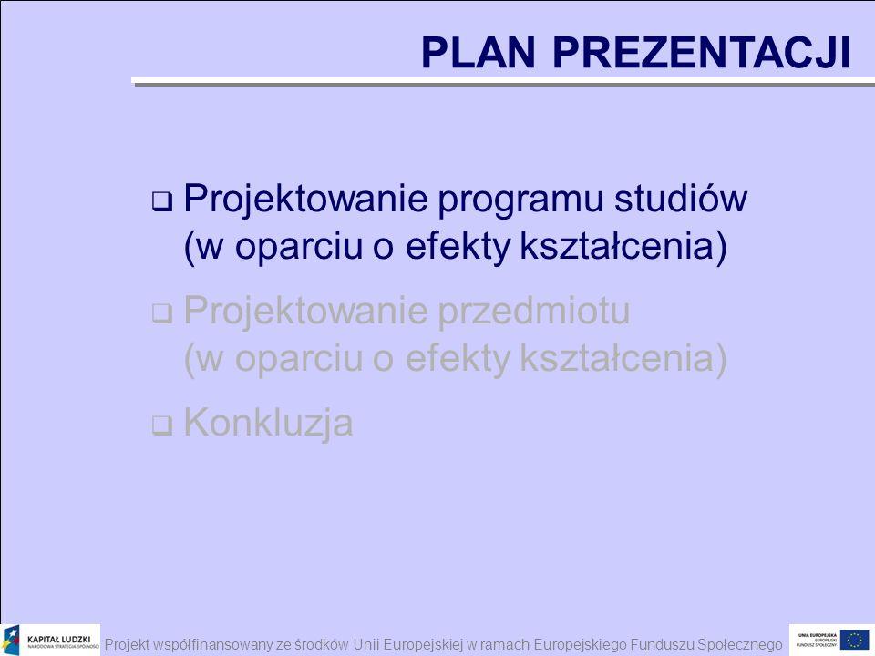 Projekt współfinansowany ze środków Unii Europejskiej w ramach Europejskiego Funduszu Społecznego Projektowanie programu studiów (w oparciu o efekty k