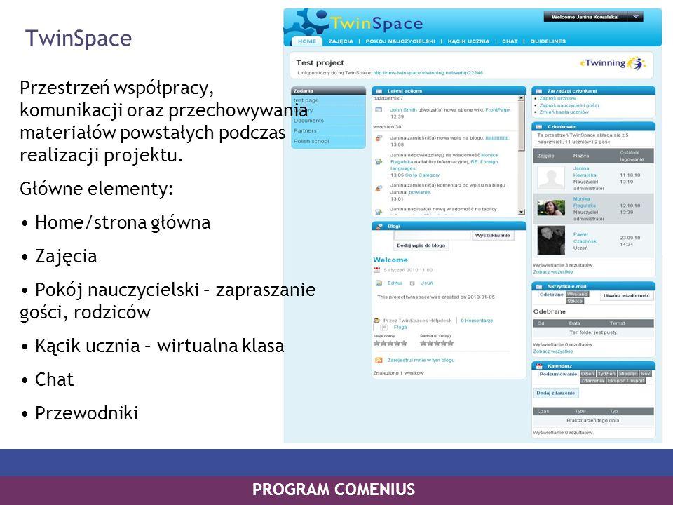 PROGRAM COMENIUS TwinSpace Przestrzeń współpracy, komunikacji oraz przechowywania materiałów powstałych podczas realizacji projektu. Główne elementy: