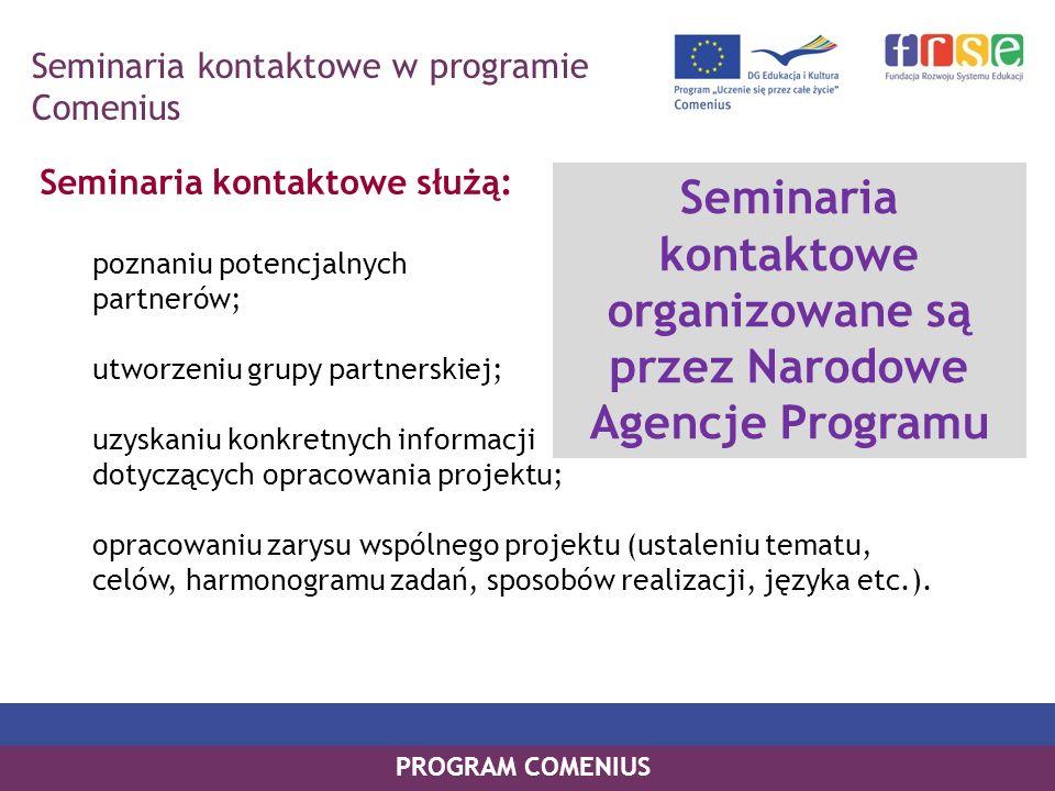 PROGRAM COMENIUS Seminaria kontaktowe służą: poznaniu potencjalnych partnerów; utworzeniu grupy partnerskiej; uzyskaniu konkretnych informacji dotyczą