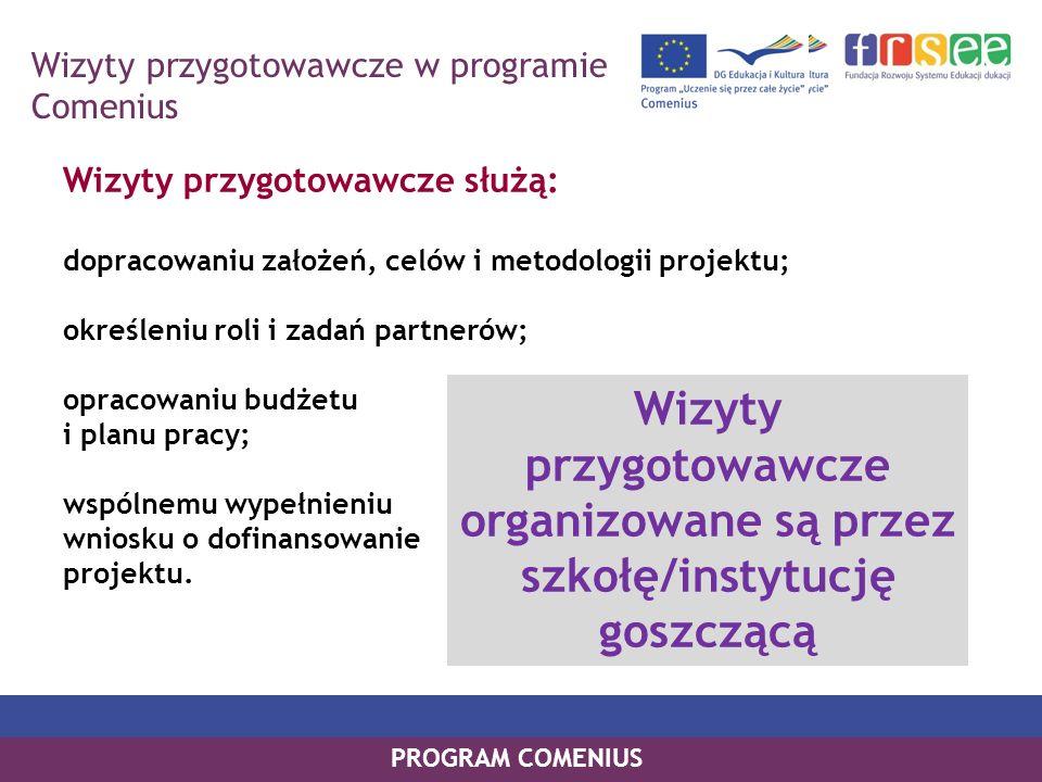 PROGRAM COMENIUS Wizyty przygotowawcze służą: dopracowaniu założeń, celów i metodologii projektu; określeniu roli i zadań partnerów; opracowaniu budże