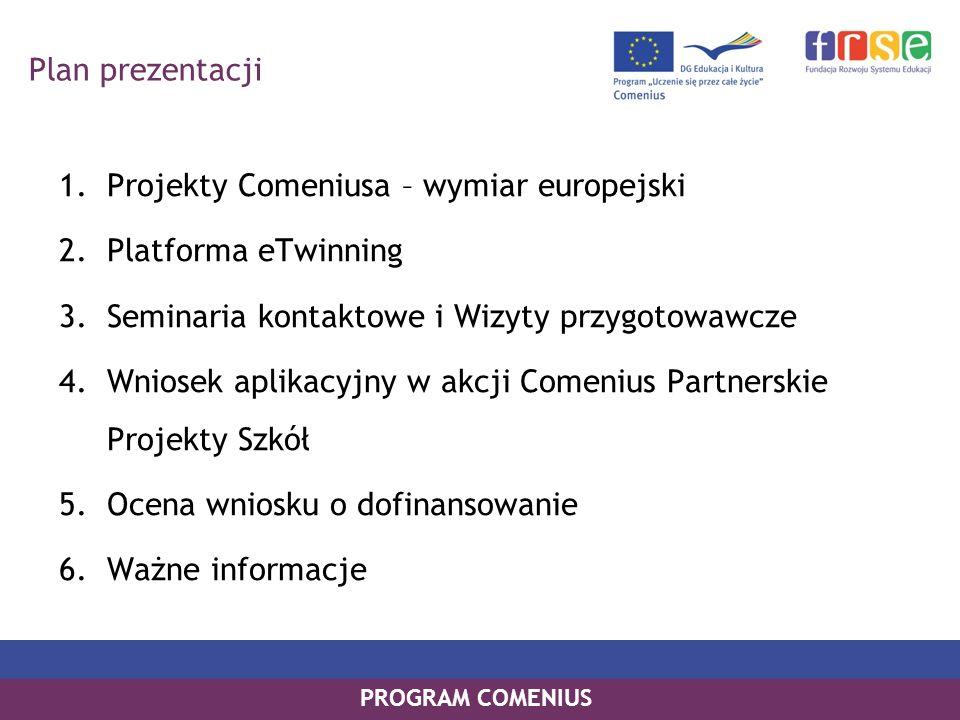 PROGRAM COMENIUS Plan prezentacji 1.Projekty Comeniusa – wymiar europejski 2.Platforma eTwinning 3.Seminaria kontaktowe i Wizyty przygotowawcze 4.Wnio