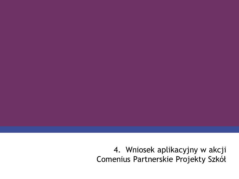 PROGRAM COMENIUS 4.Wniosek aplikacyjny w akcji Comenius Partnerskie Projekty Szkół