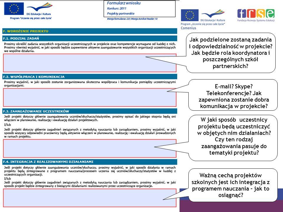 PROGRAM COMENIUS Jak podzielone zostaną zadania i odpowiedzialność w projekcie? Jak będzie rola koordynatora i poszczególnych szkół partnerskich? E-ma