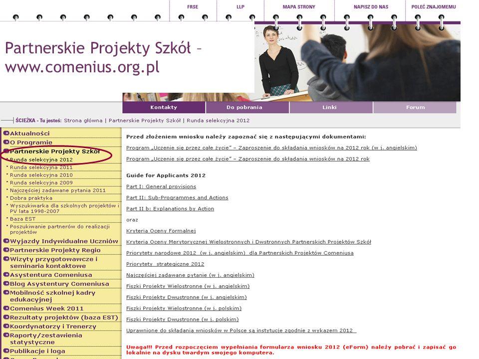 PROGRAM COMENIUS Partnerskie Projekty Szkół – www.comenius.org.pl