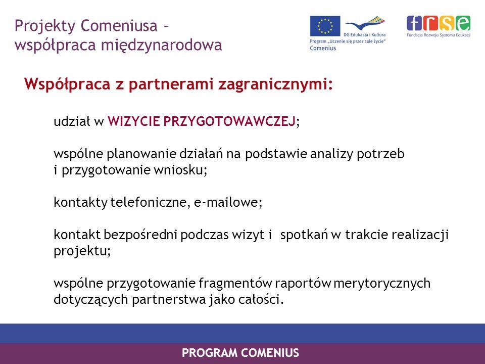 PROGRAM COMENIUS Współpraca z partnerami zagranicznymi: udział w WIZYCIE PRZYGOTOWAWCZEJ; wspólne planowanie działań na podstawie analizy potrzeb i pr