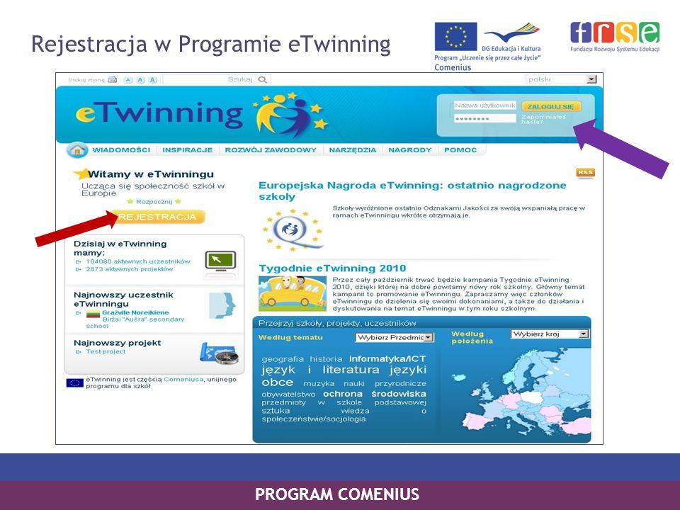 PROGRAM COMENIUS Rejestracja w Programie eTwinning