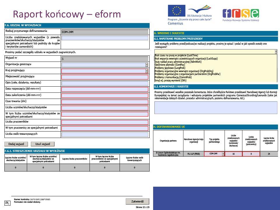 PROGRAM COMENIUS Raport końcowy – eform