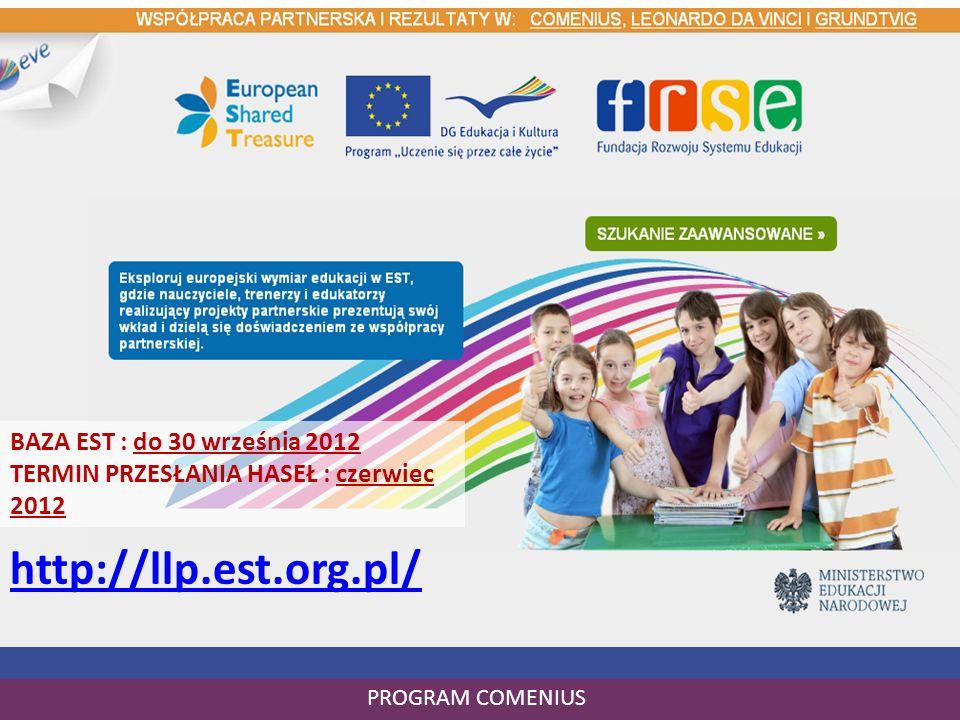 Raport końcowy – co dalej? PROGRAM COMENIUS http://llp.est.org.pl/ BAZA EST : do 30 września 2012 TERMIN PRZESŁANIA HASEŁ : czerwiec 2012