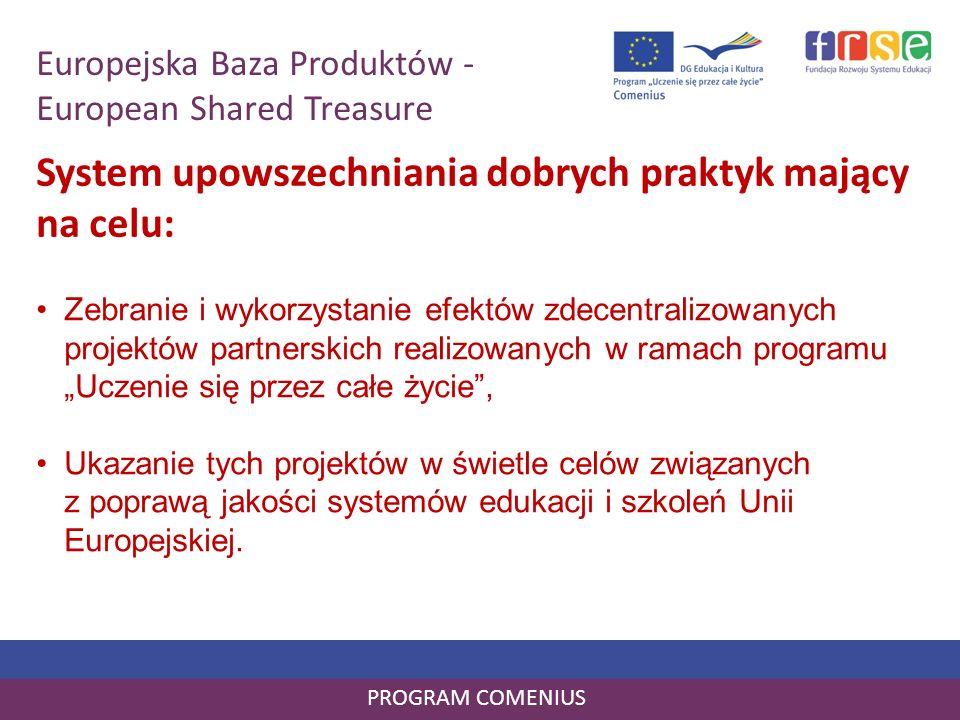 PROGRAM COMENIUS Zebranie i wykorzystanie efektów zdecentralizowanych projektów partnerskich realizowanych w ramach programu Uczenie się przez całe ży