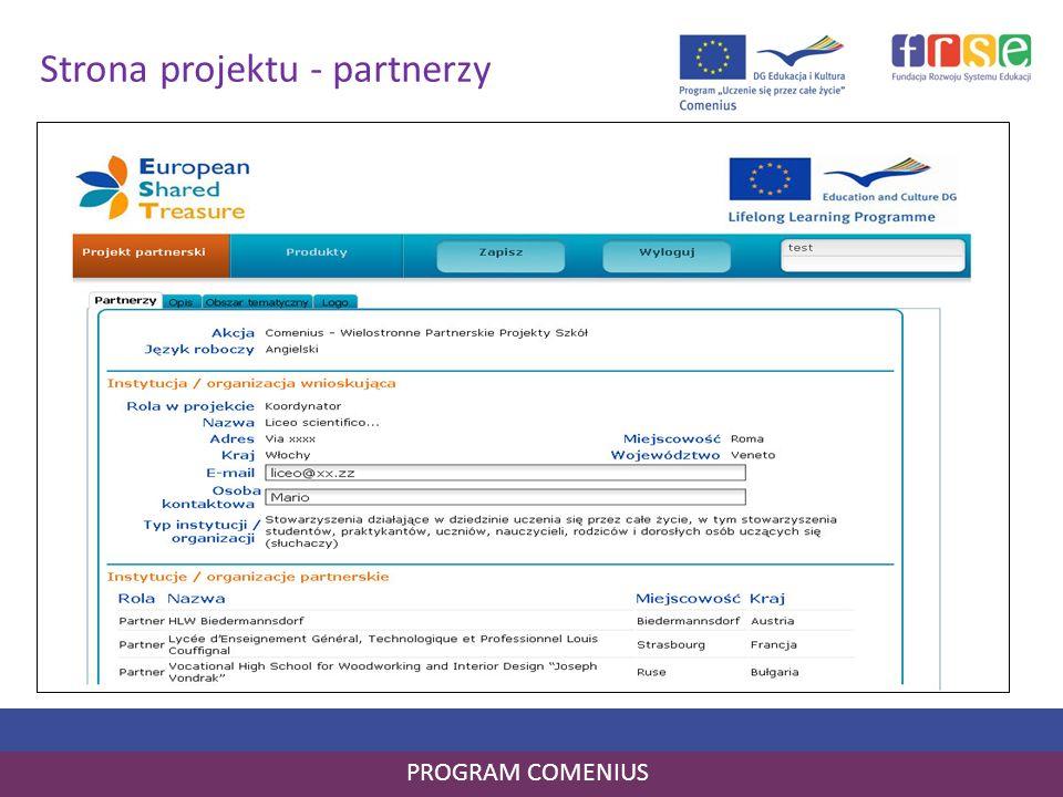 Strona projektu - partnerzy PROGRAM COMENIUS