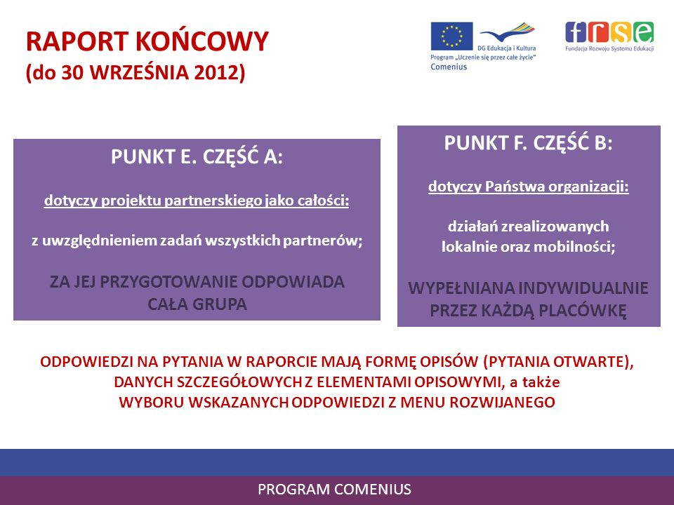 PROGRAM COMENIUS RAPORT KOŃCOWY (do 30 WRZEŚNIA 2012) PUNKT E. CZĘŚĆ A: dotyczy projektu partnerskiego jako całości: z uwzględnieniem zadań wszystkich