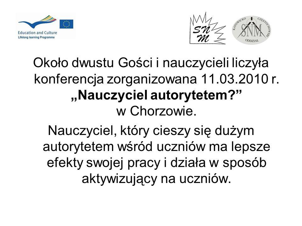 Około dwustu Gości i nauczycieli liczyła konferencja zorganizowana 11.03.2010 r. Nauczyciel autorytetem? w Chorzowie. Nauczyciel, który cieszy się duż