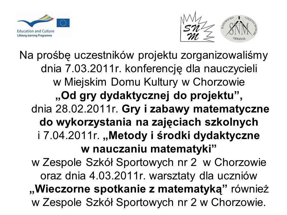 Na prośbę uczestników projektu zorganizowaliśmy dnia 7.03.2011r. konferencję dla nauczycieli w Miejskim Domu Kultury w Chorzowie Od gry dydaktycznej d
