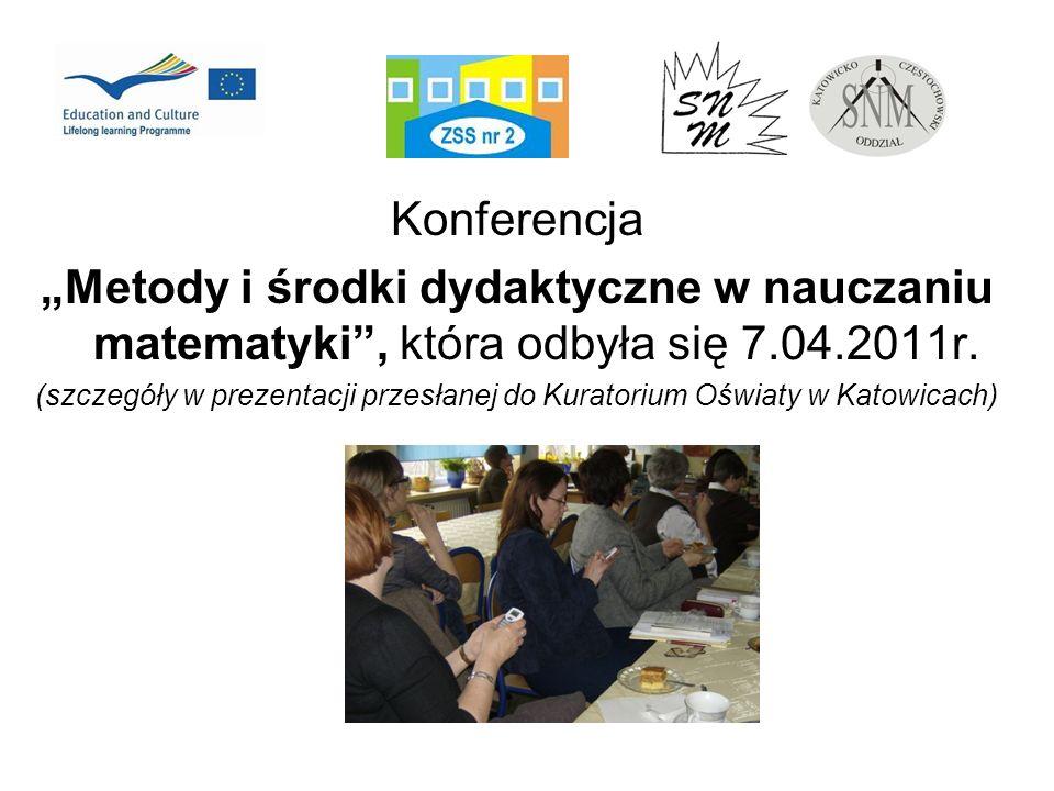 Konferencja Metody i środki dydaktyczne w nauczaniu matematyki, która odbyła się 7.04.2011r. (szczegóły w prezentacji przesłanej do Kuratorium Oświaty