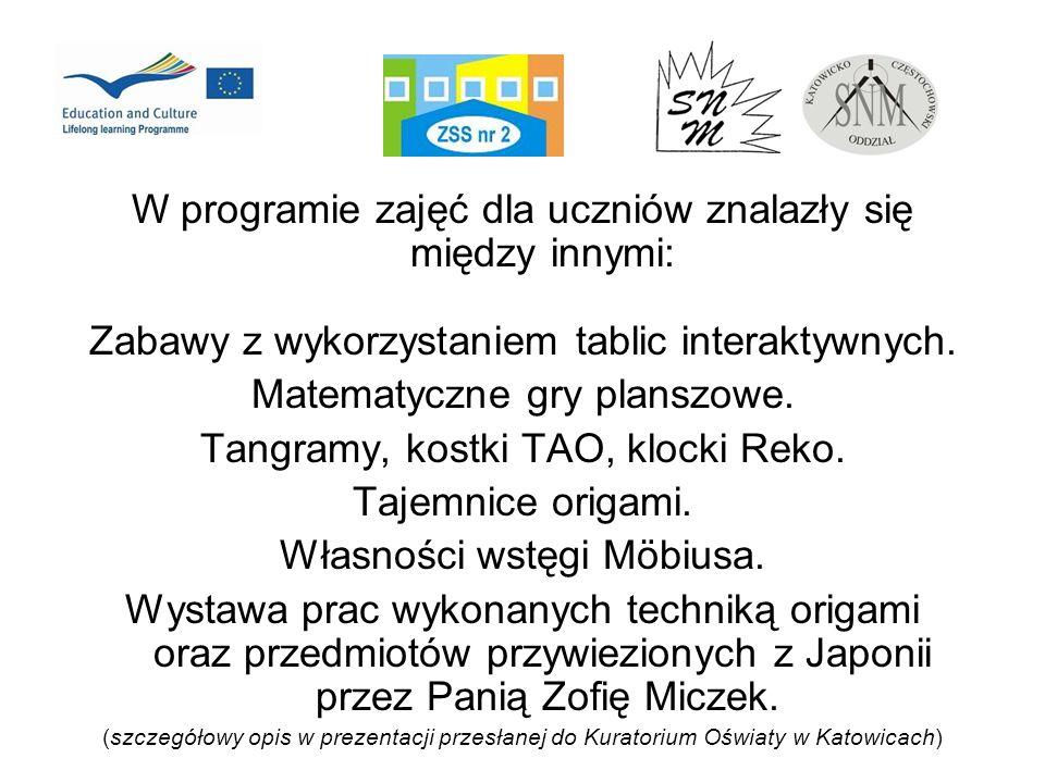 W programie zajęć dla uczniów znalazły się między innymi: Zabawy z wykorzystaniem tablic interaktywnych. Matematyczne gry planszowe. Tangramy, kostki
