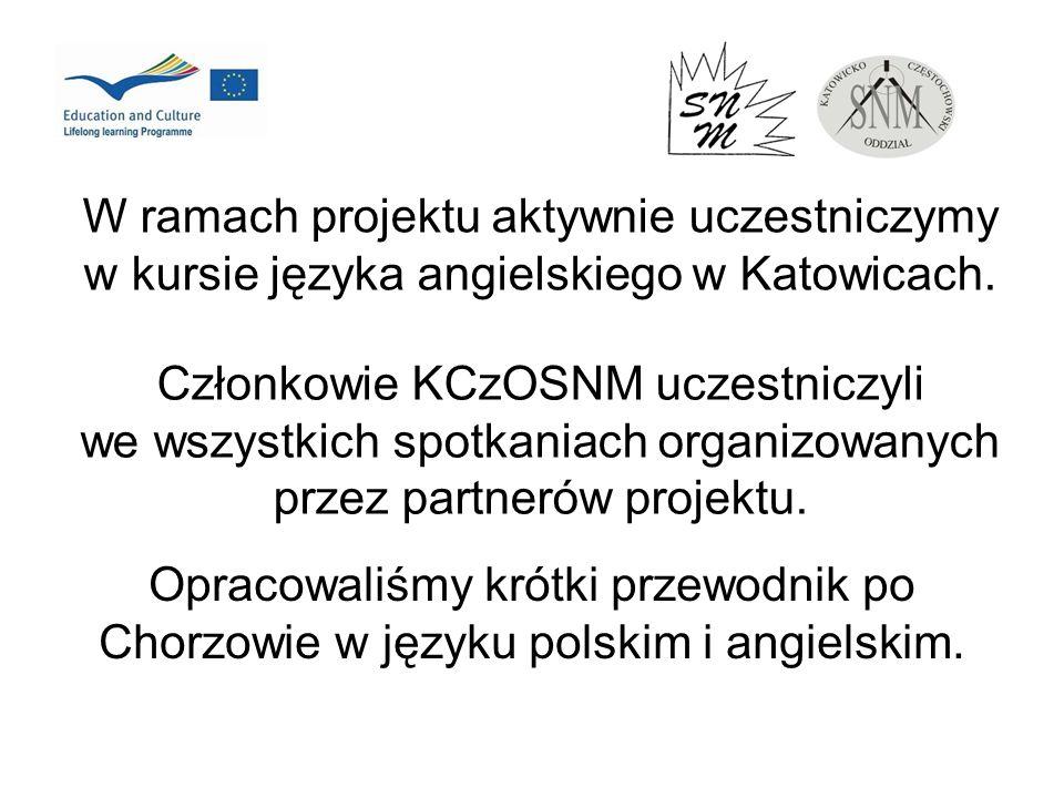 W ramach projektu aktywnie uczestniczymy w kursie języka angielskiego w Katowicach. Członkowie KCzOSNM uczestniczyli we wszystkich spotkaniach organiz