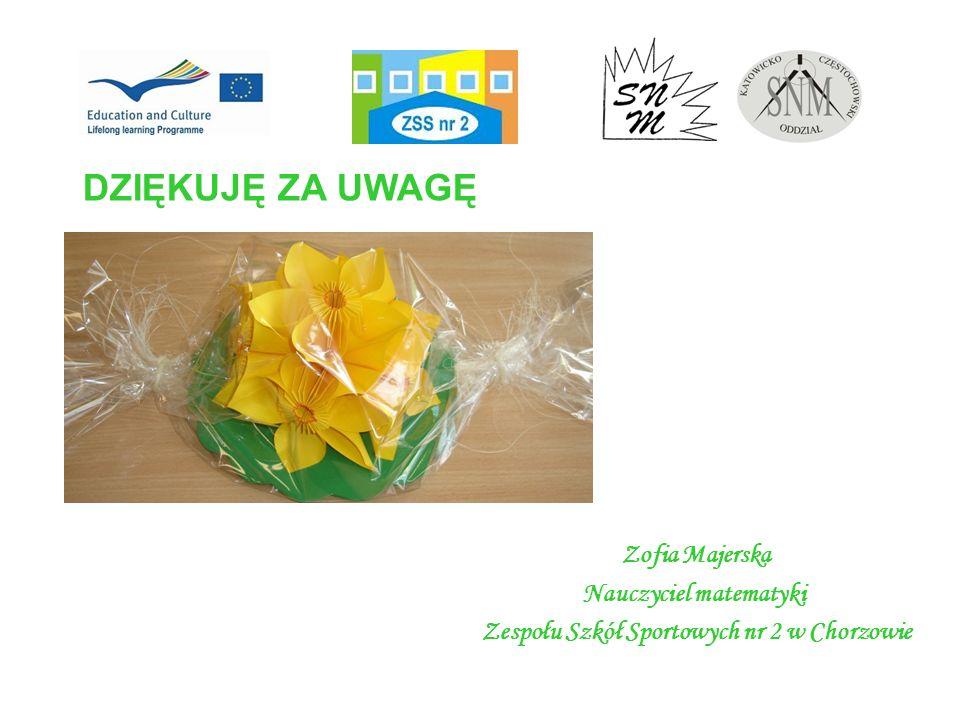 DZIĘKUJĘ ZA UWAGĘ Zofia Majerska Nauczyciel matematyki Zespołu Szkół Sportowych nr 2 w Chorzowie