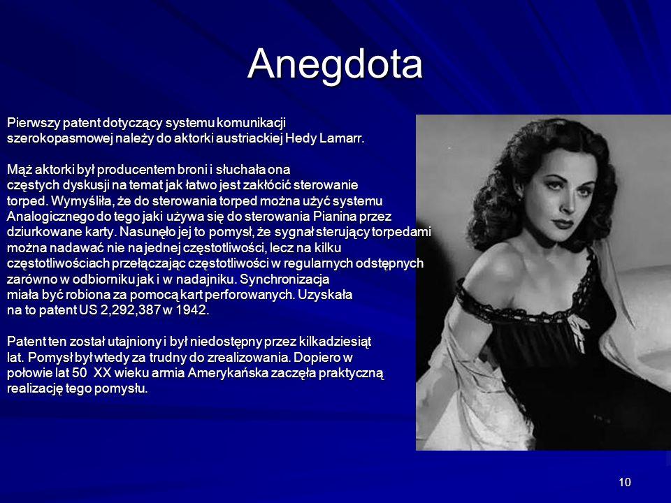 10 Anegdota Pierwszy patent dotyczący systemu komunikacji szerokopasmowej należy do aktorki austriackiej Hedy Lamarr.