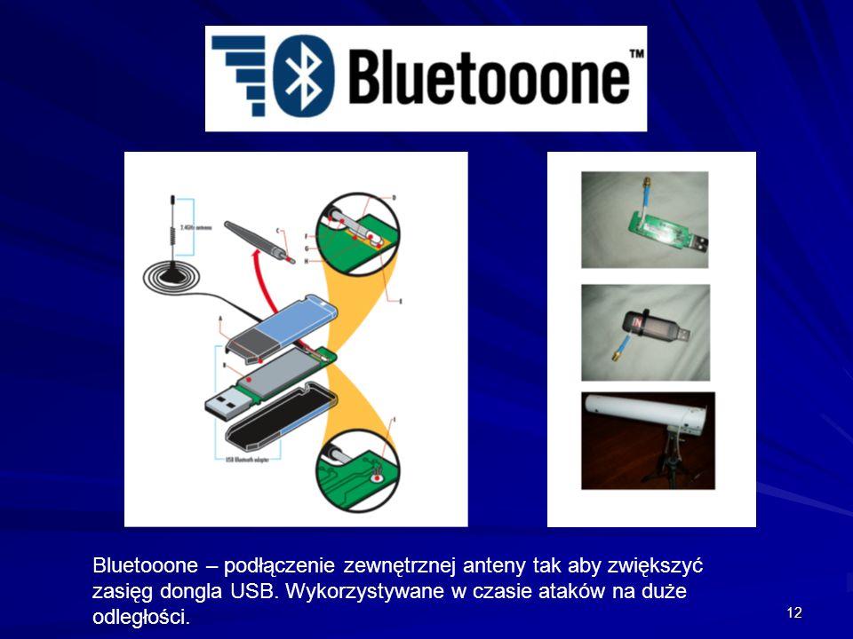 12 Bluetooone – podłączenie zewnętrznej anteny tak aby zwiększyć zasięg dongla USB.