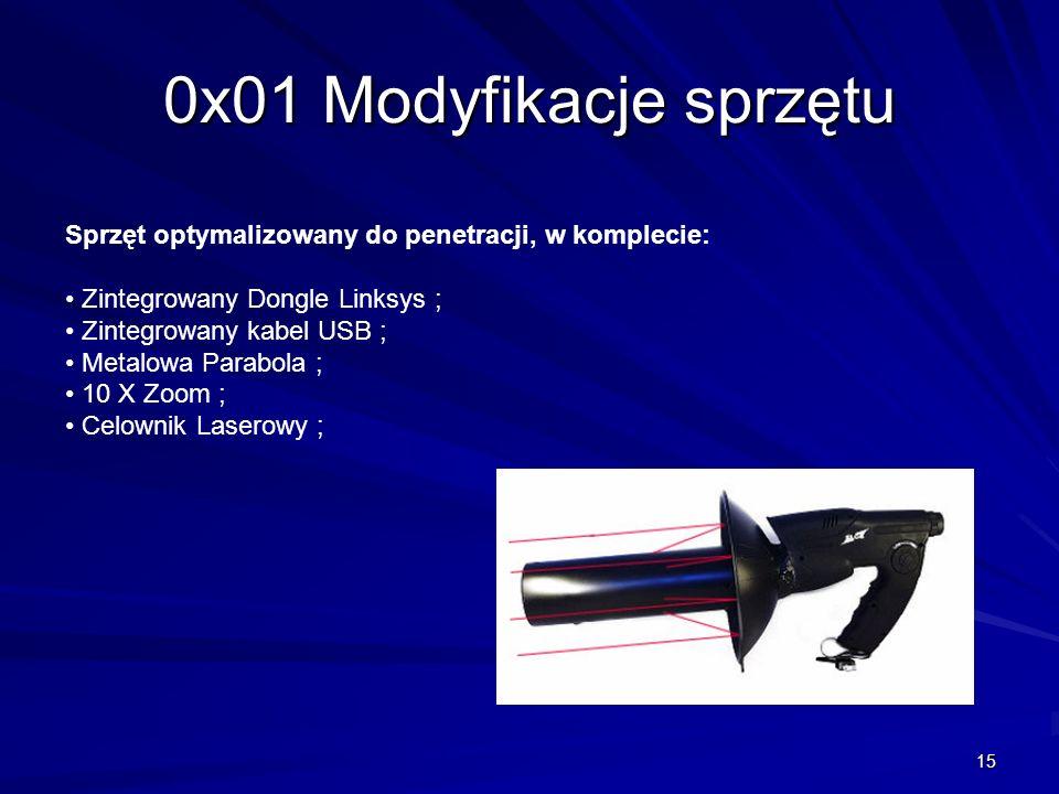 15 0x01 Modyfikacje sprzętu Sprzęt optymalizowany do penetracji, w komplecie: Zintegrowany Dongle Linksys ; Zintegrowany kabel USB ; Metalowa Parabola ; 10 X Zoom ; Celownik Laserowy ;
