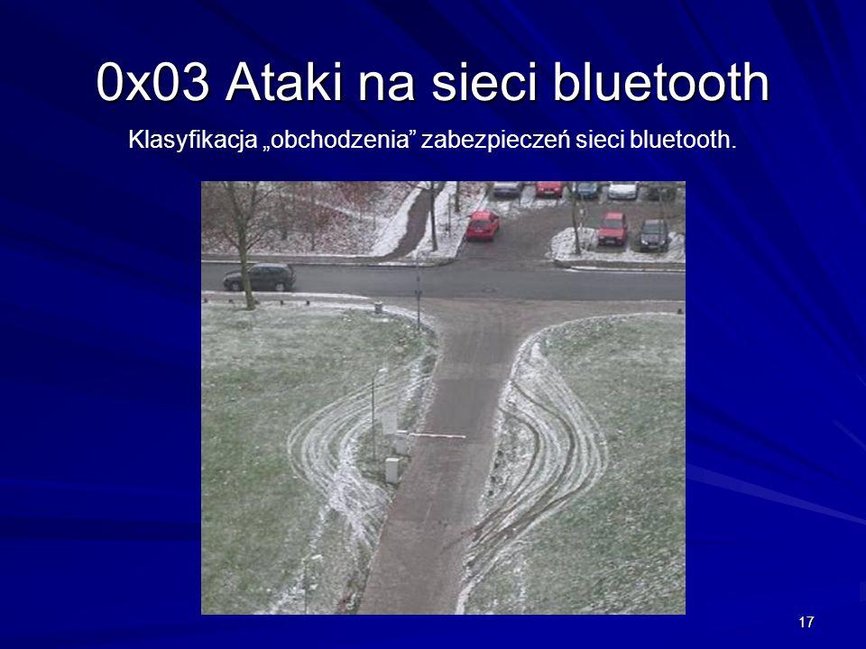 17 0x03 Ataki na sieci bluetooth Klasyfikacja obchodzenia zabezpieczeń sieci bluetooth.
