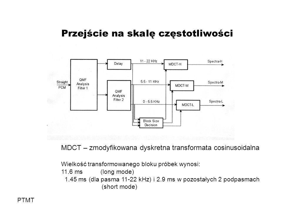 Przejście na skalę częstotliwości PTMT MDCT – zmodyfikowana dyskretna transformata cosinusoidalna Wielkość transformowanego bloku próbek wynosi: 11.6 ms (long mode) 1.45 ms (dla pasma 11-22 kHz) i 2.9 ms w pozostałych 2 podpasmach (short mode)