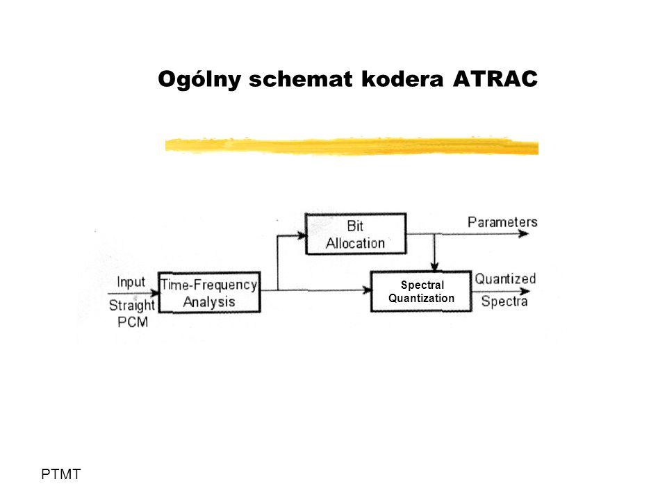 Kodery MPEG4 - Audio PTMT Kodery MPEG4 operujące w dziedzinie częstotliwości: AAC AAC Low delay AAC – BSAC (bit-sliced arithmetic coding) Inne kodery MPEG4: koder parametryczny HILN (Harmonic plus Individual Lines plus Noise) SA – Structured Audio