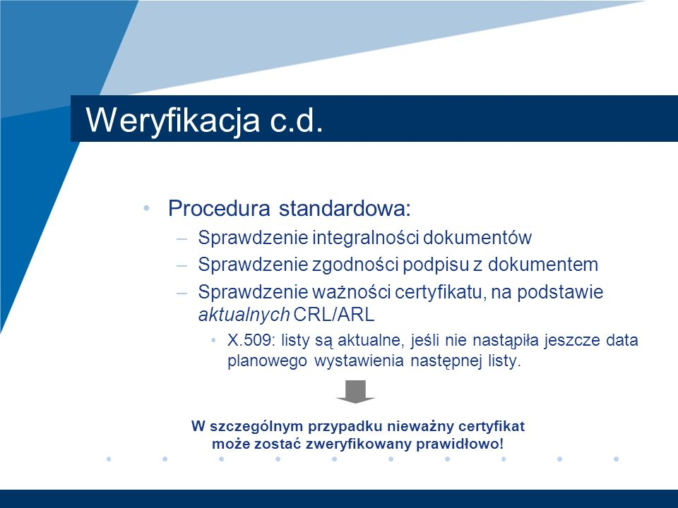 Weryfikacja c.d. Procedura standardowa: –Sprawdzenie integralności dokumentów –Sprawdzenie zgodności podpisu z dokumentem –Sprawdzenie ważności certyf