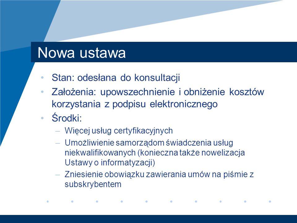 Nowa ustawa Stan: odesłana do konsultacji Założenia: upowszechnienie i obniżenie kosztów korzystania z podpisu elektronicznego Środki: –Więcej usług c
