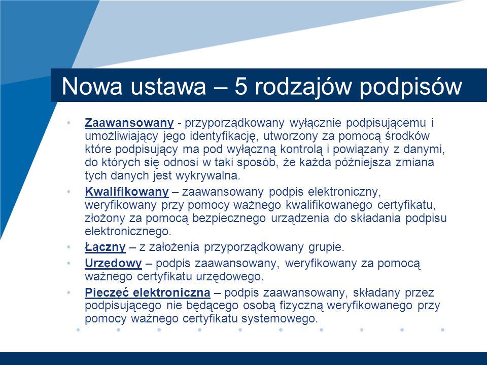 Nowa ustawa – 5 rodzajów podpisów Zaawansowany - przyporządkowany wyłącznie podpisującemu i umożliwiający jego identyfikację, utworzony za pomocą środ