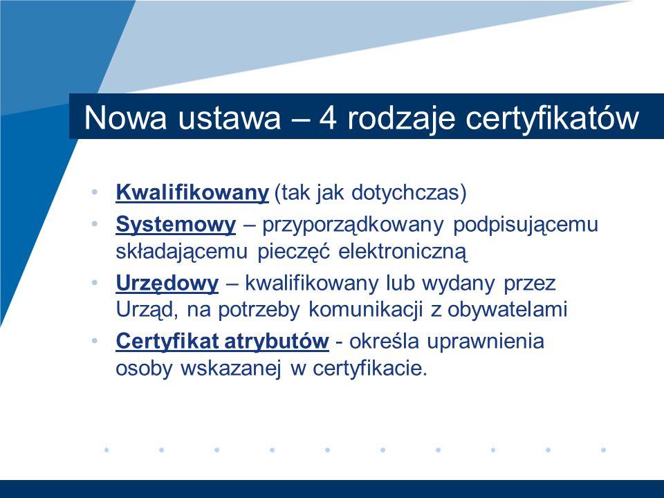 Nowa ustawa – 4 rodzaje certyfikatów Kwalifikowany (tak jak dotychczas) Systemowy – przyporządkowany podpisującemu składającemu pieczęć elektroniczną