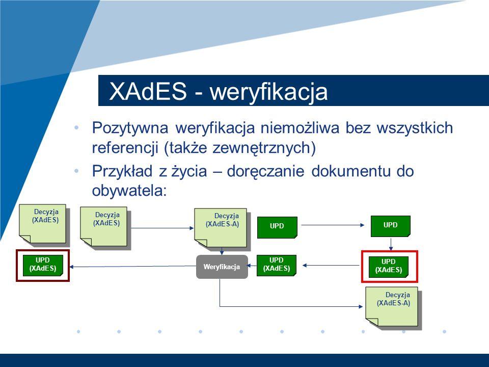 XAdES - weryfikacja Pozytywna weryfikacja niemożliwa bez wszystkich referencji (także zewnętrznych) Przykład z życia – doręczanie dokumentu do obywate