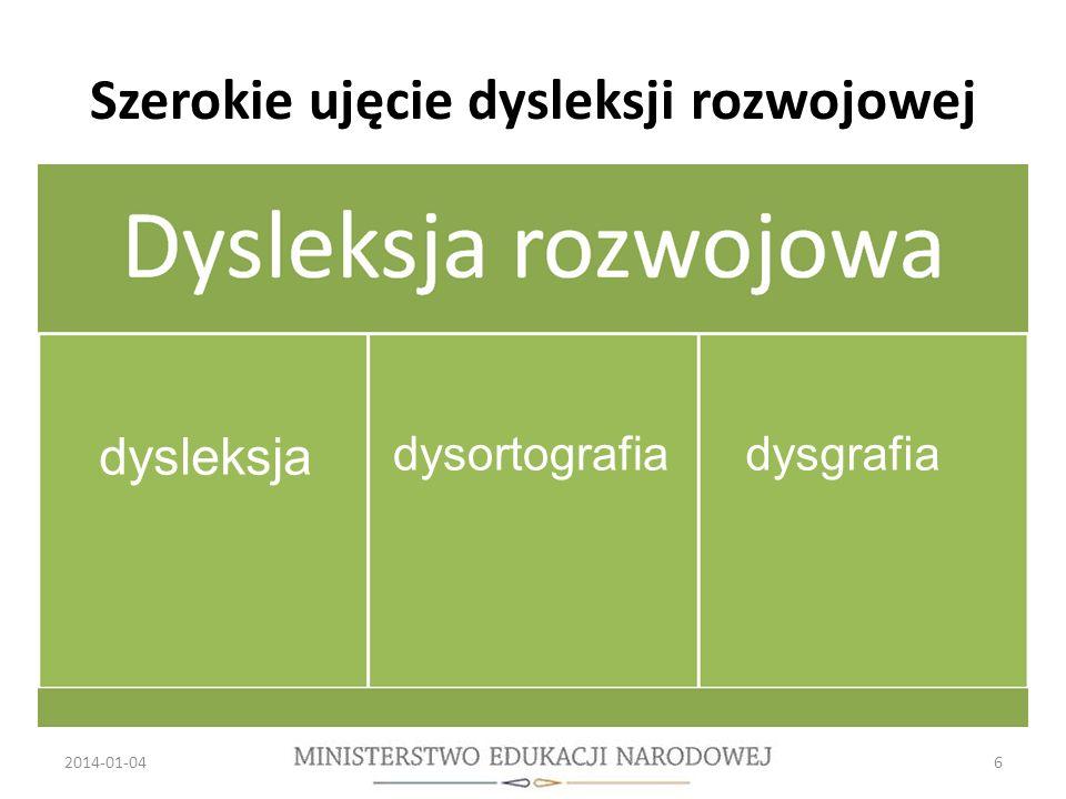 Szerokie ujęcie dysleksji rozwojowej 2014-01-046 dysleksja dysortografiadysgrafia