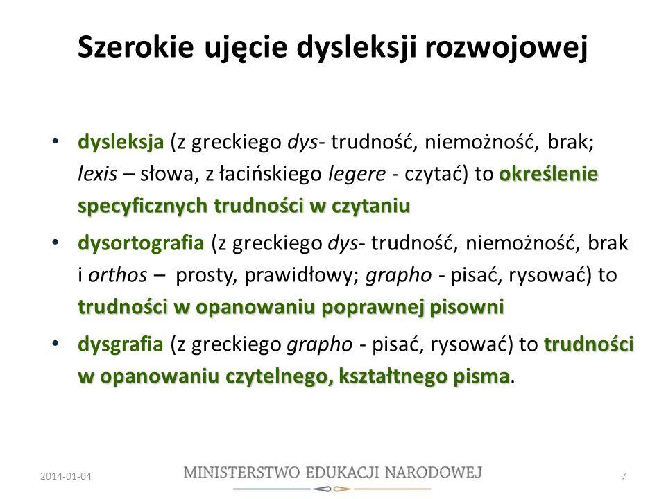 Szerokie ujęcie dysleksji rozwojowej określenie specyficznych trudności w czytaniu dysleksja (z greckiego dys- trudność, niemożność, brak; lexis – słowa, z łacińskiego legere - czytać) to określenie specyficznych trudności w czytaniu trudności w opanowaniu poprawnej pisowni dysortografia (z greckiego dys- trudność, niemożność, brak i orthos – prosty, prawidłowy; grapho - pisać, rysować) to trudności w opanowaniu poprawnej pisowni trudności w opanowaniu czytelnego, kształtnego pisma dysgrafia (z greckiego grapho - pisać, rysować) to trudności w opanowaniu czytelnego, kształtnego pisma.