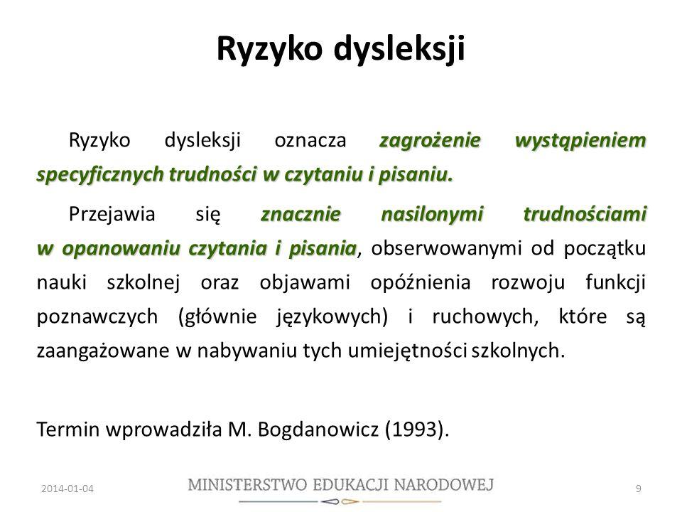 Ryzyko dysleksji zagrożenie wystąpieniem specyficznych trudności w czytaniu i pisaniu.
