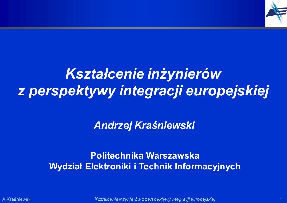 1 1Kształcenie inżynierów z perspektywy integracji europejskiejA.Kraśniewski Kształcenie inżynierów z perspektywy integracji europejskiej Andrzej Kraś