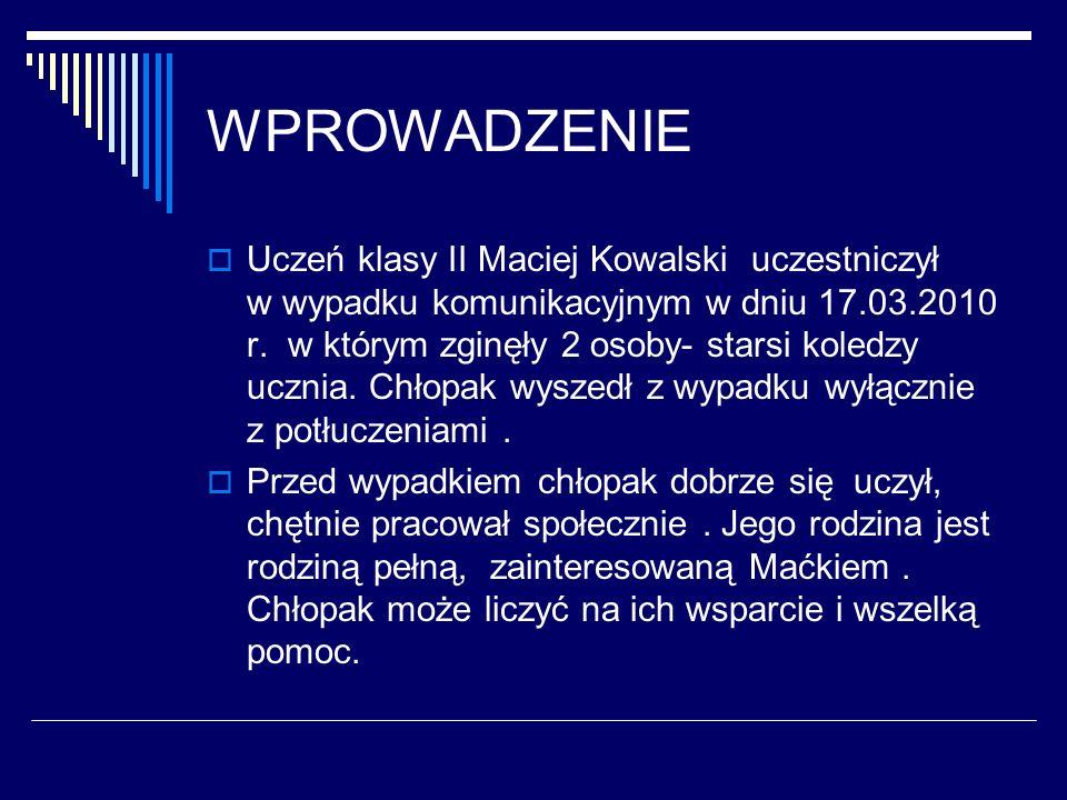 WPROWADZENIE Uczeń klasy II Maciej Kowalski uczestniczył w wypadku komunikacyjnym w dniu 17.03.2010 r. w którym zginęły 2 osoby- starsi koledzy ucznia