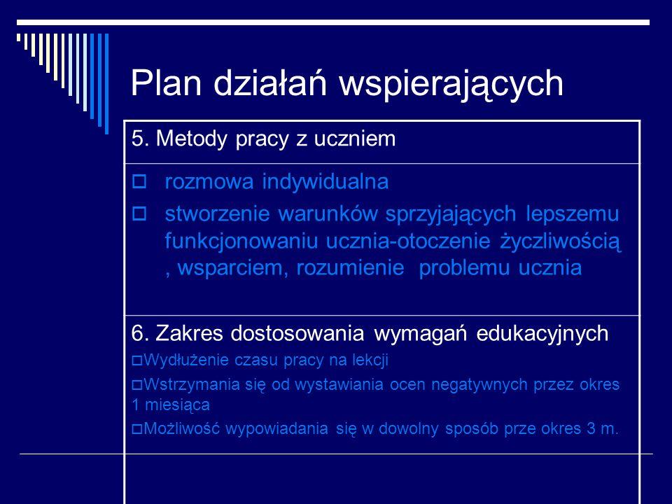 Plan działań wspierających 5. Metody pracy z uczniem rozmowa indywidualna stworzenie warunków sprzyjających lepszemu funkcjonowaniu ucznia-otoczenie ż