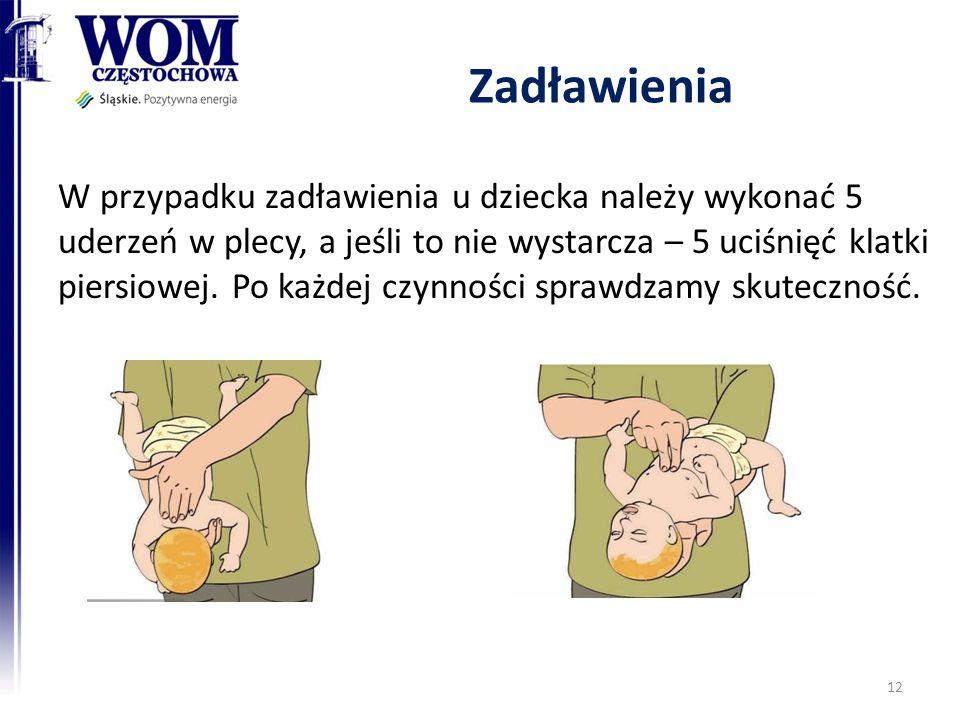 Zadławienia W przypadku zadławienia u dziecka należy wykonać 5 uderzeń w plecy, a jeśli to nie wystarcza – 5 uciśnięć klatki piersiowej.