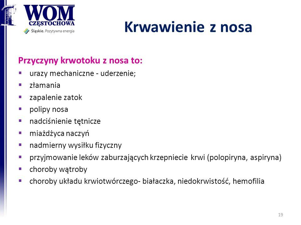 Krwawienie z nosa Przyczyny krwotoku z nosa to: urazy mechaniczne - uderzenie; złamania zapalenie zatok polipy nosa nadciśnienie tętnicze miażdżyca naczyń nadmierny wysiłku fizyczny przyjmowanie leków zaburzających krzepniecie krwi (polopiryna, aspiryna) choroby wątroby choroby układu krwiotwórczego- białaczka, niedokrwistość, hemofilia 19