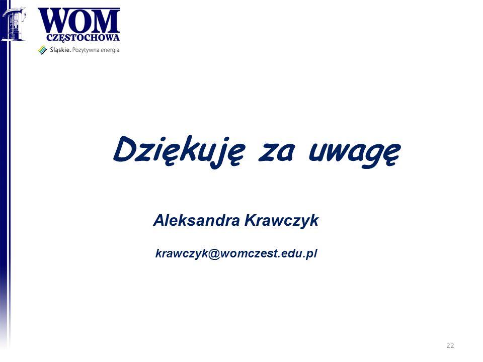 Aleksandra Krawczyk krawczyk@womczest.edu.pl Dziękuję za uwagę 22