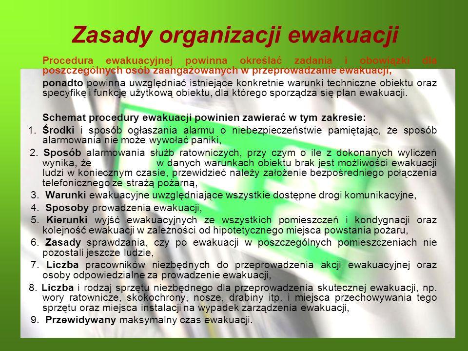 Zasady organizacji ewakuacji Procedura ewakuacyjnej powinna określać zadania i obowiązki dla poszczególnych osób zaangażowanych w przeprowadzanie ewak