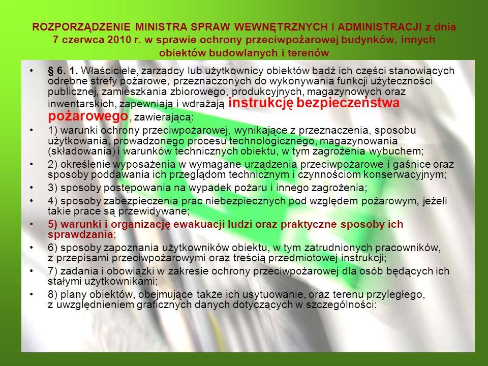 ROZPORZĄDZENIE MINISTRA SPRAW WEWNĘTRZNYCH I ADMINISTRACJI z dnia 7 czerwca 2010 r. w sprawie ochrony przeciwpożarowej budynków, innych obiektów budow