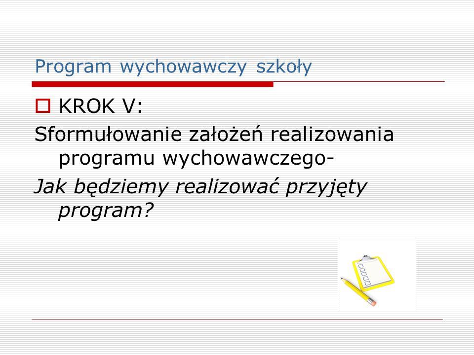Program wychowawczy szkoły KROK V: Sformułowanie założeń realizowania programu wychowawczego- Jak będziemy realizować przyjęty program?