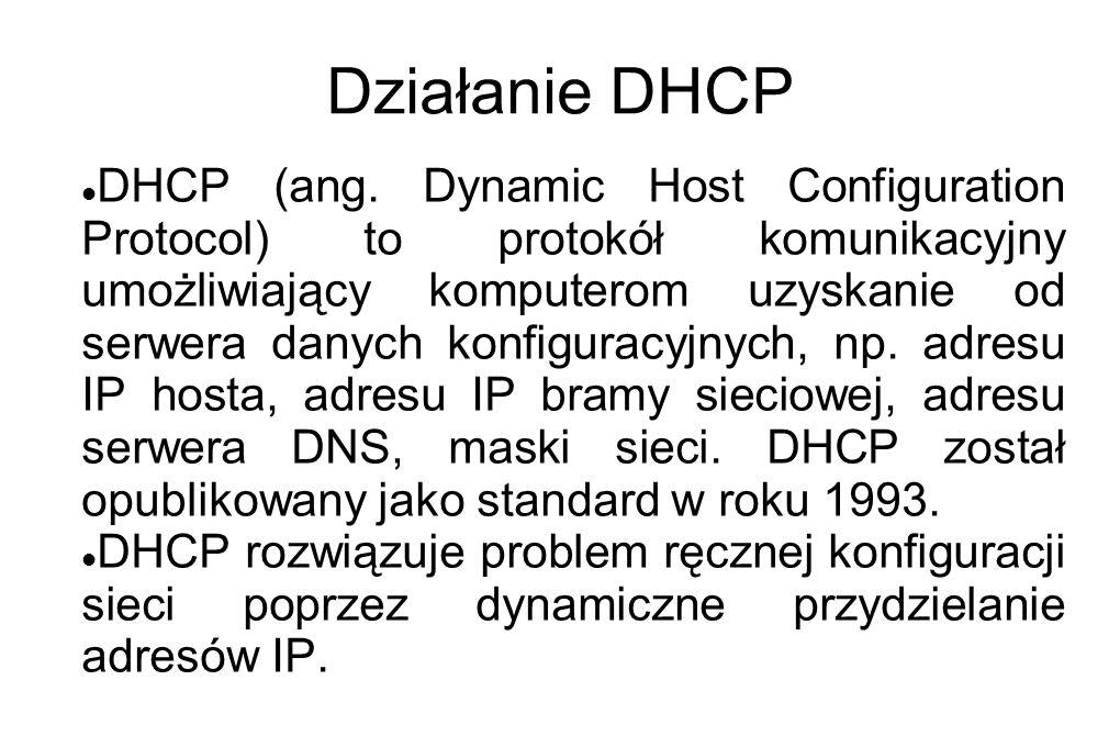 Działanie DHCP DHCP (ang. Dynamic Host Configuration Protocol) to protokół komunikacyjny umożliwiający komputerom uzyskanie od serwera danych konfigur