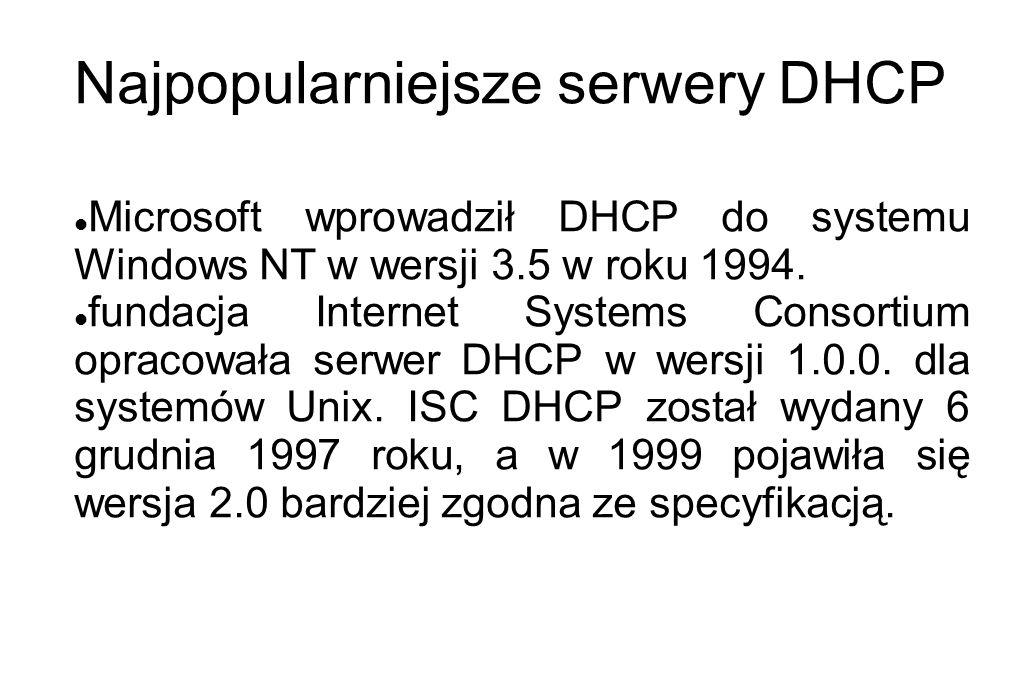 Najpopularniejsze serwery DHCP Microsoft wprowadził DHCP do systemu Windows NT w wersji 3.5 w roku 1994. fundacja Internet Systems Consortium opracowa